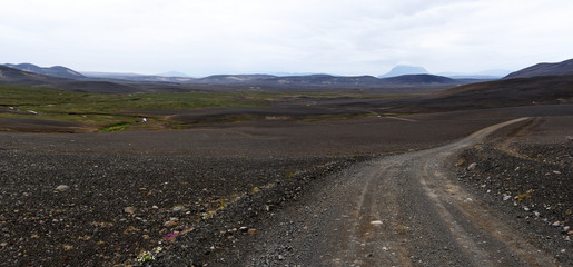 Foto auf Leinwand Osteuropa Panoramic view at wild desert landscape from Austurleid road Eastern Iceland