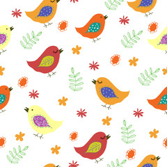 Funny colorful birds and flowers seamless pattern. Vector Illustration