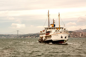 Beautiful View touristic landmarks from sea voyage on Bosphorus. turkish steamboats, view on Golden Horn.