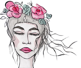 Fantasy watercolor portrait of a beautiful girl with flowers in the hair. Beauty illustration