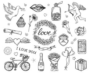 Set of hand drawn sketched icons of love, Saint Valentine's Day, wedding etc. Romantic doodle design elements for greeting cards, banners. Black and white vector illustration