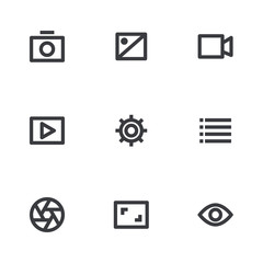 Multimedia icons set. Vector icon. Media button. Design element app or website