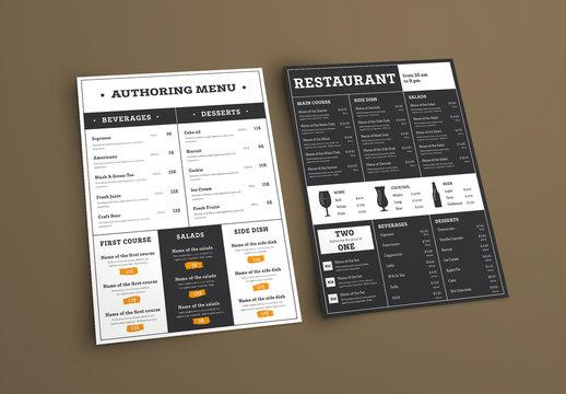 Type-Based Restaurant Menu Layout