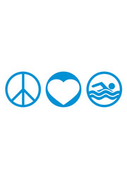 kreise schwimmen liebe peace zeichen symbol herz urlaub meer ferien wasser wellen cool logo design piktogramm baden schwimmbad sport spaß tauchen hallenbad clipart schwimmer