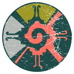 Vector illustration for Mayan new age community: Hunab Ku, symbol of the One God. Esoteric psychedelic symbol of Mayanism.