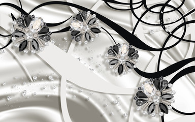 3D wallpaper,  Jewelry flowers, silver silk and abstract background. Black and white. Wall mural