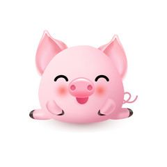 Cute little piggy. The year of the pig symbol. Piglet smiling and doing the split.