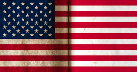Flag of America with old grunge texture