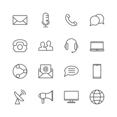 Simple set of media and communication icons. Vector line icon