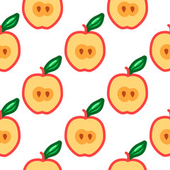 Apple seamless pattern. Autumn, summer vintage design icon. Vector fruit illustration. Green background. Hand drawn cute apples with cut sliced core for textile, manufacturing, fabrics and decor