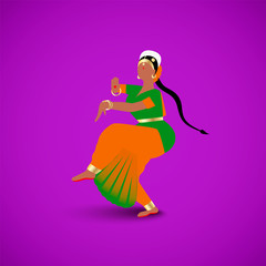 Indian dancing woman dressed in a traditional sari dress in national flag colors isolated on bright purple backgroung
