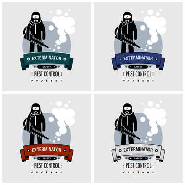 Exterminator logo design. Vector artwork of pest control company with a person carrying a fogging smoke sprayer to kill mosquitoes and other insects.