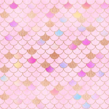 Pretty pink mermaid scales textured paper with rose gold, Background illustration.