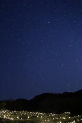 松崎町 石部の棚田ライトアップと星