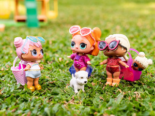 Dolls preparing and having a picnic together