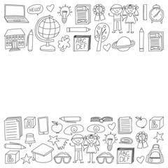 Vector set of secondary school icons in doodle style. Painted, black monochrome, pictures on a piece of paper on white background.