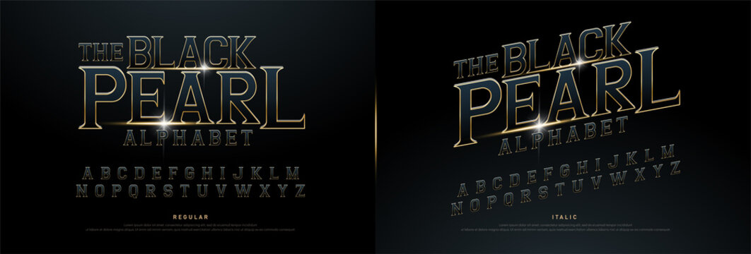 Alphabet golden metallic and effect designs for logo, Poster, Invitation. Exclusive Gold Letters Typography regular font movie concept. vector illustration