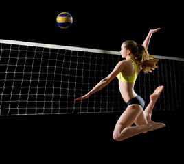 Woman beach volleyball player (with net  and ball version)