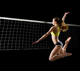 Woman beach volleyball player (with net version)