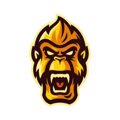 angry gorilla head esport logo mascot template vector illustration