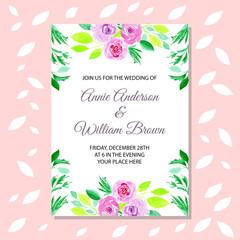 Wedding invitation card green watercolor flower