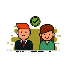 illustration of two business partner approved checklist on white background isolated