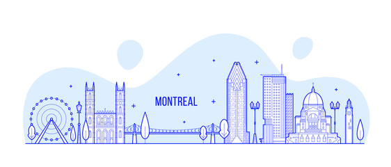 Wall Mural - Montreal skyline Canada city buildings line vector