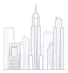Line Art Vector Illustration of Modern Big City Background with Skyscrapers. Flat design Style-2