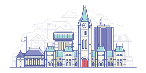 Line Art Vector Illustration of Old Big City. Flat design Style 2