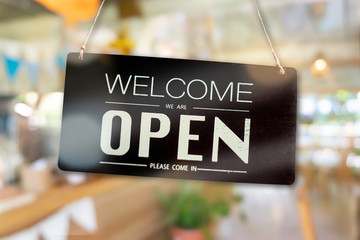 Welcome open sign for business background