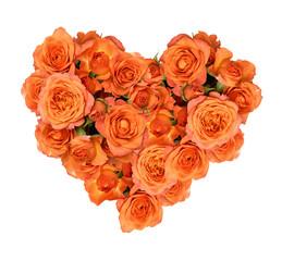 Orange rose flowers in a heart shape arrangement
