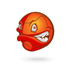 Cartoon basketball ball. Vector illustration on white background.