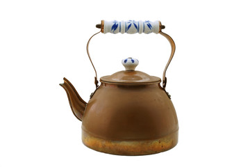 Old copper tea kettle isolated on white
