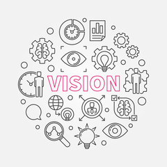 Vision vector round concept design illustration in thin line style