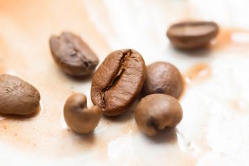 Coffee beans closeup. Sprinkled coffee
