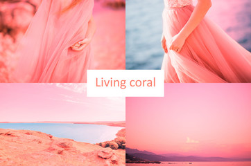 Color of the Year 2019 Living Coral inscription. Beautiful collage of eight photos of the sea, lake, women in a dress