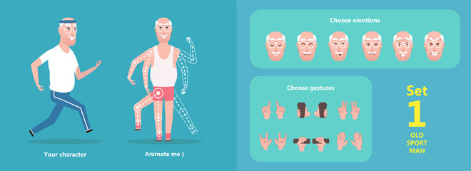 Grandpa is running, isolated cartoon character. Set to create a pose, the choice of emotions of the face and hand gestures. The old man goes in for sports. Illustration flat style - vector