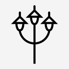 Outline triple floor lamps pixel perfect vector icon