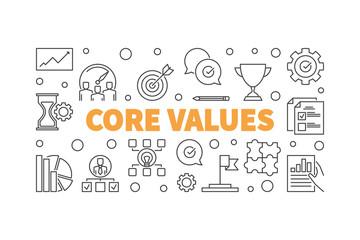 Core Values horizontal concept illustration or banner in thin line style
