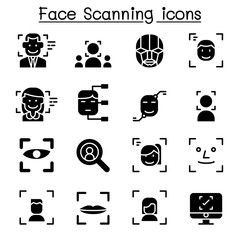 Face detection , Face recognition, Face scanning icon set