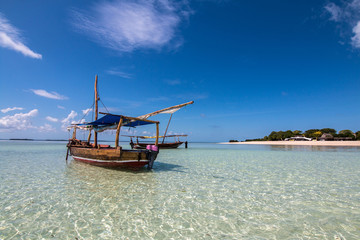 Beautiful beach and Ship in Zanzibar Tanzania