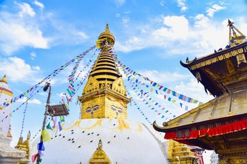 Swayambhunath Stupa, an Ancient Religious Landmark in Kathmandu, Nepal