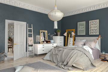Skandinavisches, nordisches Schlafzimmer mit einem großen Bett