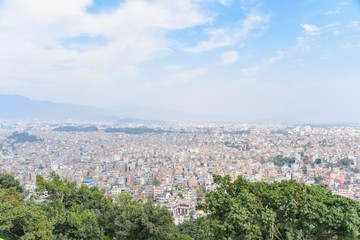 Kathmandu City View from Swayambhunath Pagoda in Kathmandu Valley