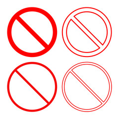 NO SIGN. Forbidden or prohibition symbol. Icon set. Vector.