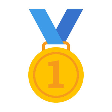 First /1st place gold medal with number 1 and blue ribbon flat vector icon for sports apps and websites
