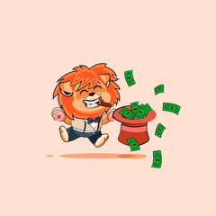 lion jumping for joy with hat of money