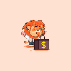 lion sticker emoticon speaker behind podium