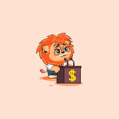 lion sticker emoticon speech about money