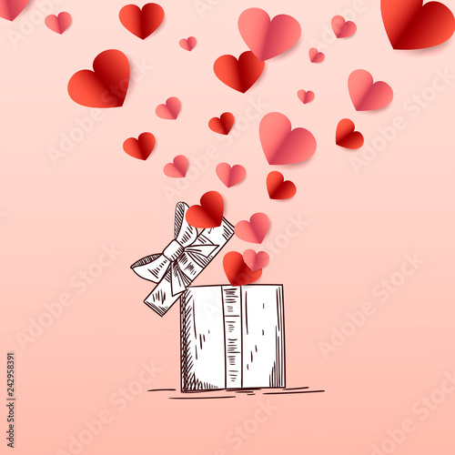 Greeting Card Concept Art For Happy Valentines Day Womens Day
